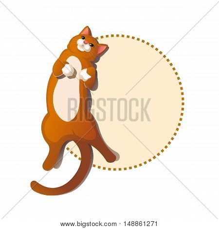 Cute ginger cat lying. Greeting card with frame. vector isolate on white background flat lay