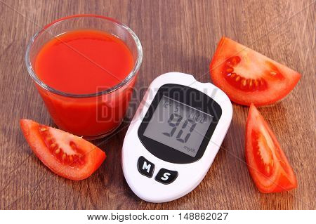 Glucometer, Fresh Tomato And Tomato Juice, Diabetes And Healthy Nutrition