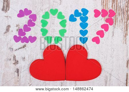 Happy New Year 2017 Made Of Colorful Hearts And Red Wooden Hearts