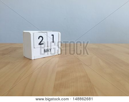 May 21St.may 21 White Wooden Calendar On Vintage Wood Abstract Background.spring Day.copyspace For T