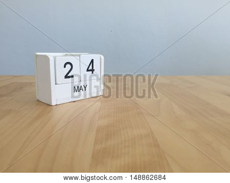 May 24Th.may 24 White Wooden Calendar On Vintage Wood Abstract Background.spring Day.copyspace For T