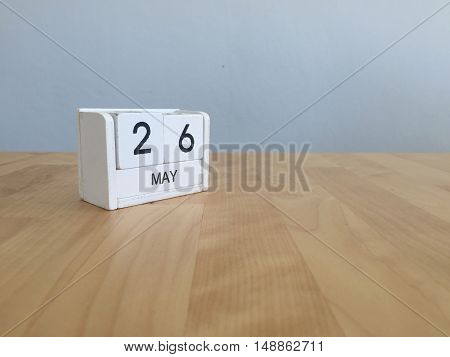 May 26Th.may 26 White Wooden Calendar On Vintage Wood Abstract Background.spring Day.copyspace For T