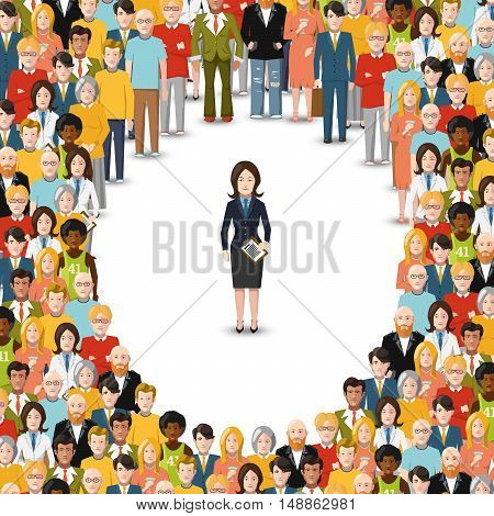 Businesswoman stayed apart from crowd conceptual flat illustration on white