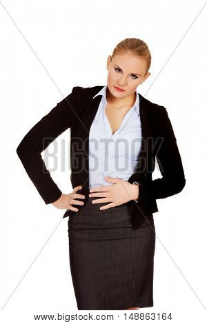 Business woman with stomach ache