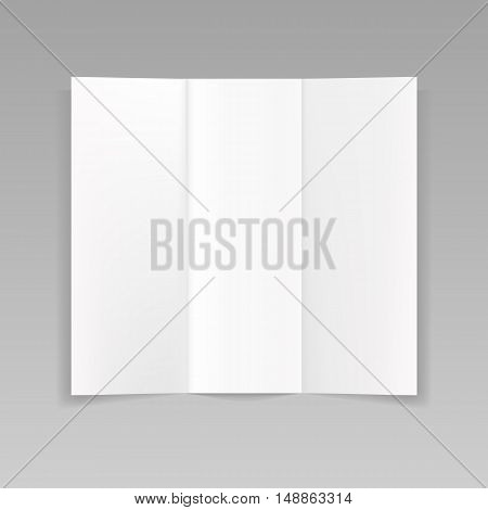 Folded realistic blank sheet of paper mockup