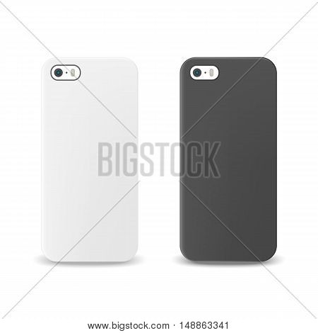 Blank realistic white and black phone cases mockup