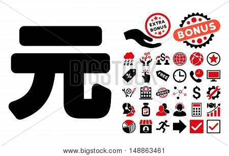 Yuan Renminbi icon with bonus pictogram. Vector illustration style is flat iconic bicolor symbols, intensive red and black colors, white background.