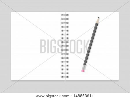 Opened blank realistic spiral notebook mockup with pencil