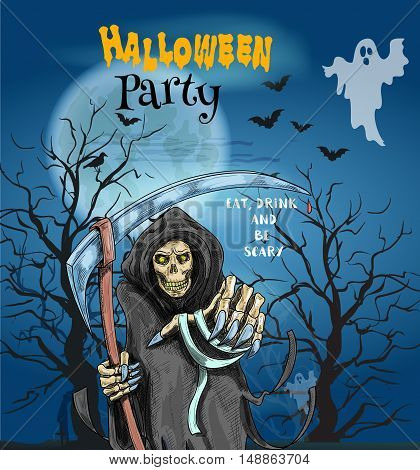 Halloween Party invitation card, poster with text Eat, Drink and Be Scary. Horror party celebration template with dead man reaper, haunted trees with spooky ghost