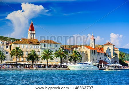 Trogir Croatia. Sunny promenade along the pier of old Venetian town Dalmatian Coast in Croatia.