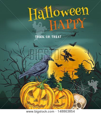 Halloween Party poster with sinister smiling pumpkins. Trick or Treat halloween party invitation card. Traditional design decoration with full moon, witch flying on broom