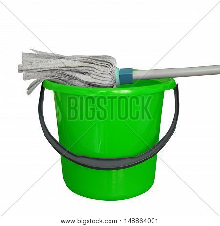 Green bucket with cleaning mop isolated on a white background. Clipping path included.