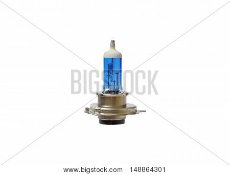 Old blue car light bulb isolated on white background