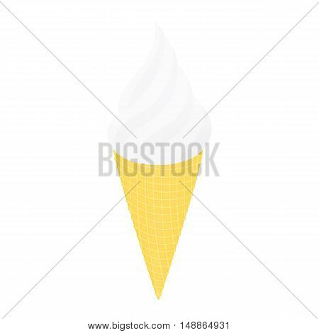 Ice cream in a conical cup. Isolated on white vector illustration.
