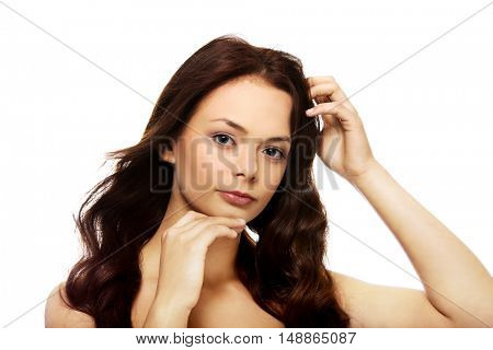 Young beautiful relaxed brunette woman