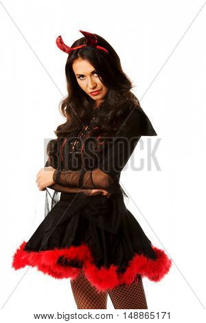 Devil woman standing in nervous pose