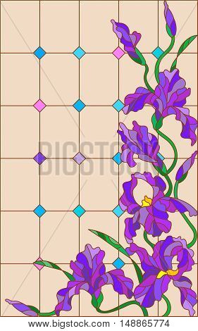 Illustration in stained glass style with flowers buds and leaves of iris on a beige background