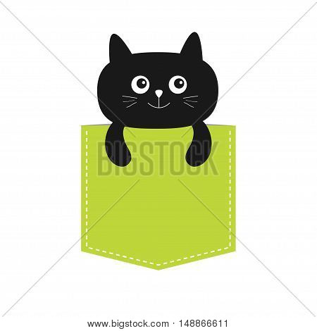 Cat in the pocket. Cute cartoon character. Black kitten kitty. Dash line. Pet animal collection. T-shirt design. White background. Isolated. Flat Vector illustration