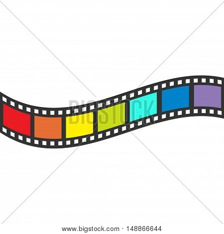 Rainbow flag Film strip frame. Wave shape ribbon. Design element. White background. LGBT Gay movie cinema sign symbol. Isolated. Flat. Vector illustration