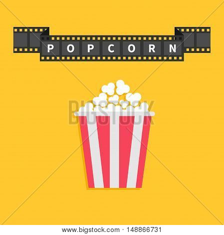 Film strip ribbon line with text. Popcorn. Red white box container. Cinema movie night icon in flat design style. Yellow background. Vector illustration