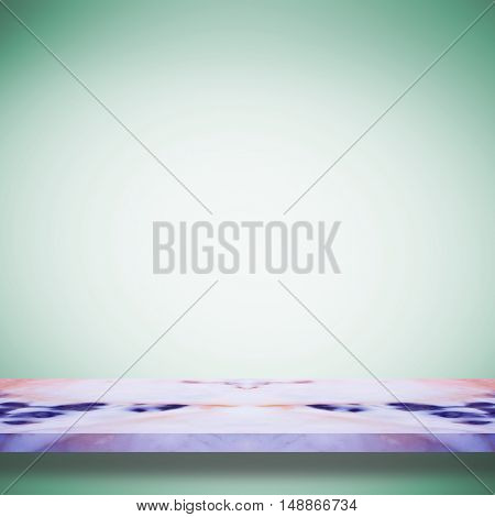 Empty top white marble shelves or marble table on green gradient background / for product display montage product display