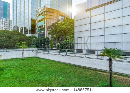 business area and green lawn,shanghai,china.