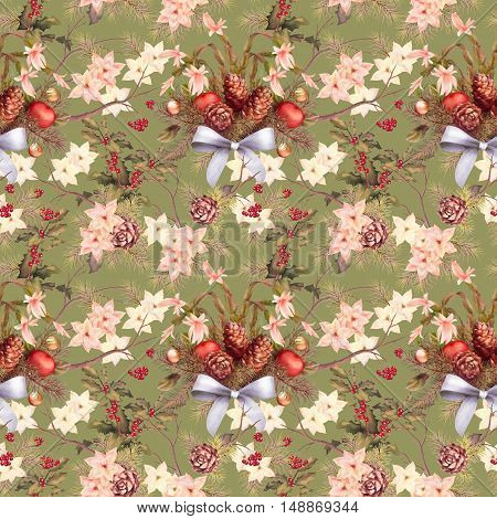 Watercolor Vintage Christmas Seamless Pattern. Tree branches garland with cones and decoration, bow