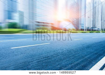 clean asphalt road in suzhou city,china.