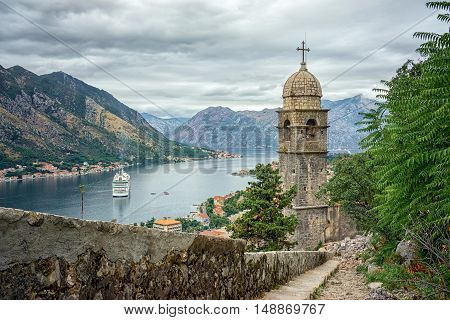 Kotor bay and Old Town from Lovcen Mountain. Montenegro.