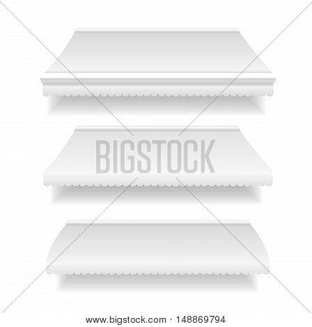 Template White Blank Awning Set for Shop and Restaurant. Vector illustration