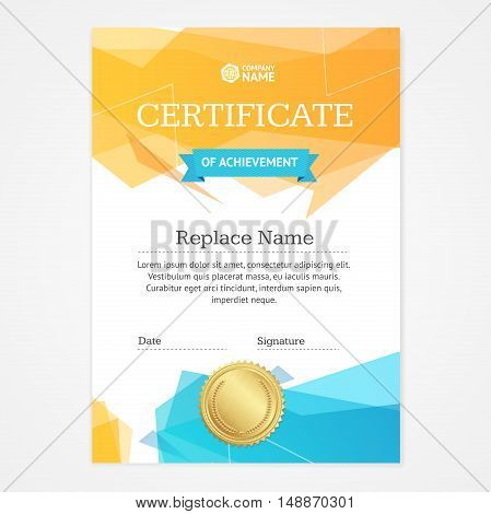Certificate Vertical Template with Speech Bubble for Business. Vector illustration