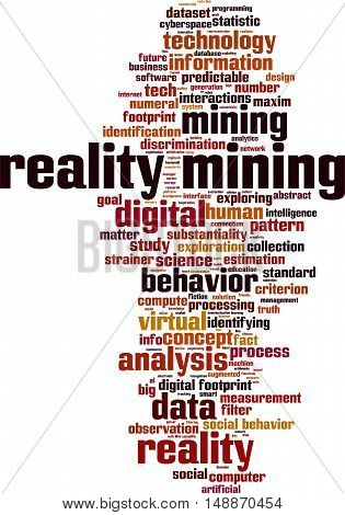 Reality mining word cloud concept. Vector illustration