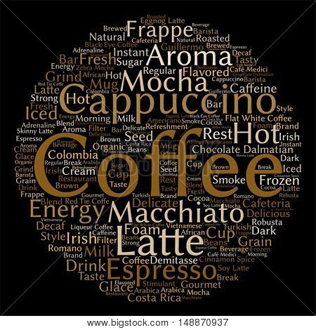 Vector concept conceptual creative hot coffee, cappuccino or espresso abstract round word cloud isolated on background