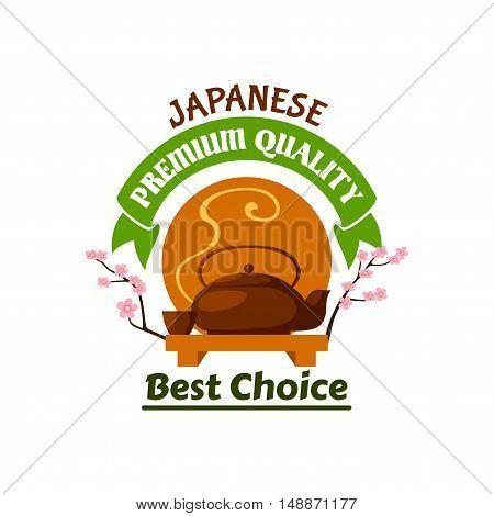 Japanese tea tradition. Ceramic teapot, cups on plate, fresh brewed steamy hot tea, cherry blossom branches. Oriental cuisine emblem for restaurant, eatery menu, advertising sticker, door signboard, banner