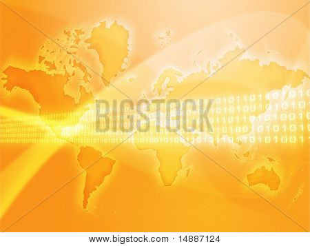 Digital data transfer, over world map illustration