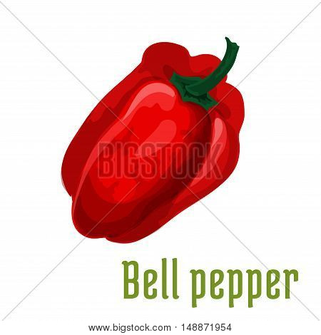 Bell pepper plant icon. Isolated leafy vegetable green element. Vegetarian pepper product sign for sticker, grocery shop, farm store