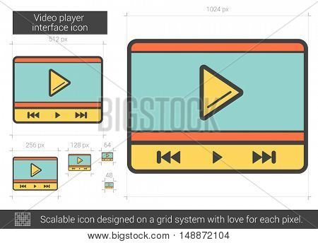 Video player interface vector line icon isolated on white background. Video player interface line icon for infographic, website or app. Scalable icon designed on a grid system.