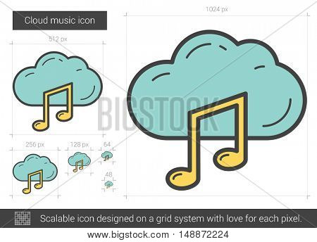 Cloud music vector line icon isolated on white background. Cloud music line icon for infographic, website or app. Scalable icon designed on a grid system.
