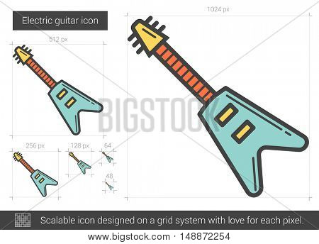 Electric guitar vector line icon isolated on white background. Electric guitar line icon for infographic, website or app. Scalable icon designed on a grid system.