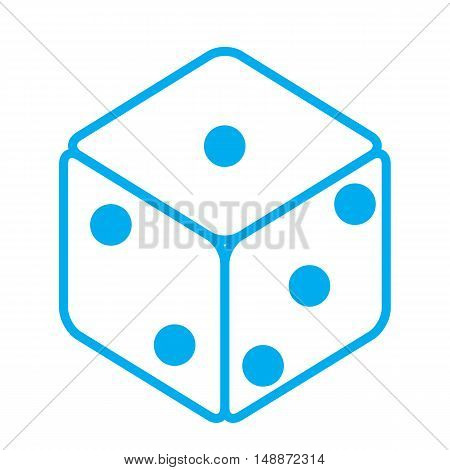dice icon blue dice cubes on white background