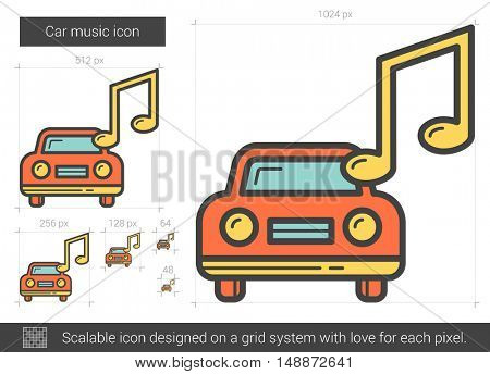 Car music vector line icon isolated on white background. Car music line icon for infographic, website or app. Scalable icon designed on a grid system.