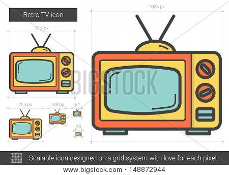 Retro TV vector line icon isolated on white background. Retro TV line icon for infographic, website or app. Scalable icon designed on a grid system.