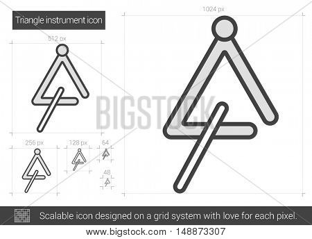 Triangle instrument vector line icon isolated on white background. Triangle instrument line icon for infographic, website or app. Scalable icon designed on a grid system.