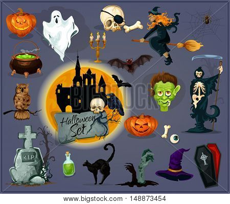 October Halloween celebration design elements and icons. Vector orange pumpkin lantern, flying witch, cauldron, zombie graveyard, haunted house creepy ghost, vampire coffin, skeleton skull