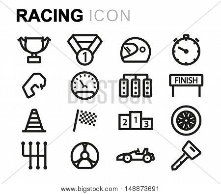 Vector black line racing icons set on white background