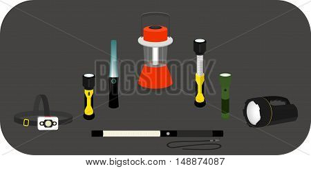vector illustration various flashlight - headlamp handlamp tablelamp