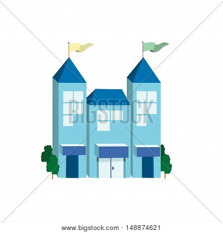 Icon big blue building on a white background. Vector illustration