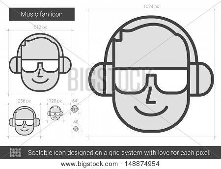 Music fan vector line icon isolated on white background. Music fan line icon for infographic, website or app. Scalable icon designed on a grid system.