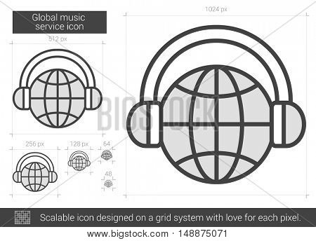 Global music service vector line icon isolated on white background. Global music service line icon for infographic, website or app. Scalable icon designed on a grid system.