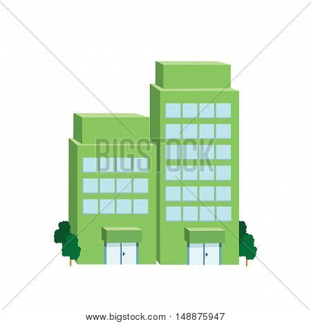 Icon big green building on a white background. Vector illustration